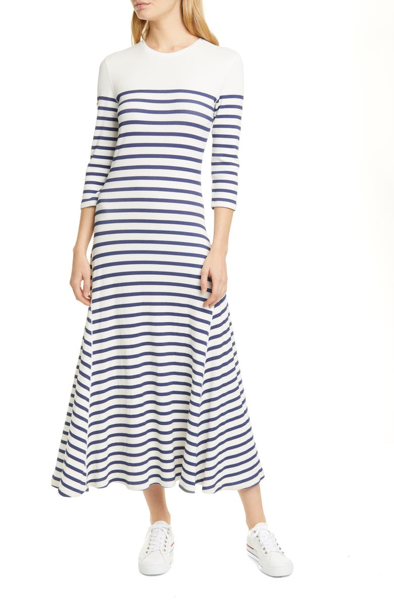 POLO RALPH LAUREN Stripe Waffle Knit Cotton Blend Dress, Main, color, NEVIS / HOLIDAY NAVY