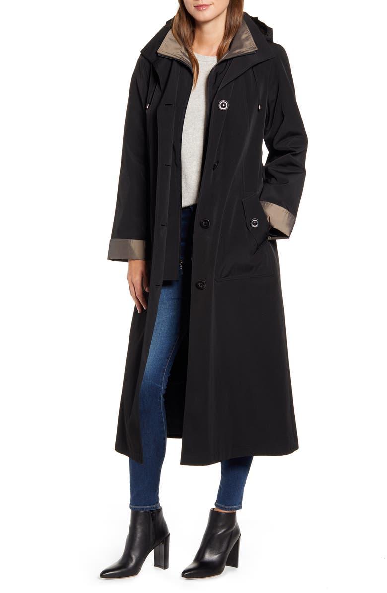 GALLERY Full Length Two-Tone Silk Look Raincoat, Main, color, BLACK