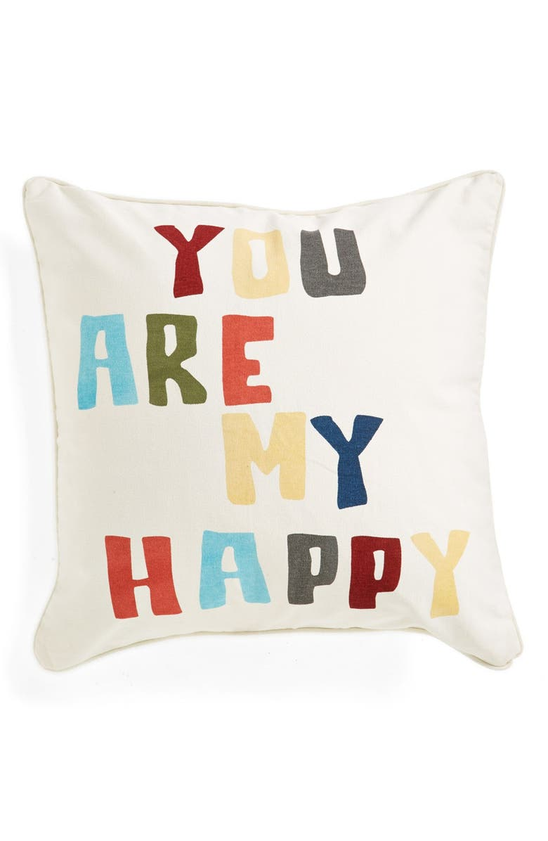LEVTEX 'You Are My Happy' Square Pillow, Main, color, 000
