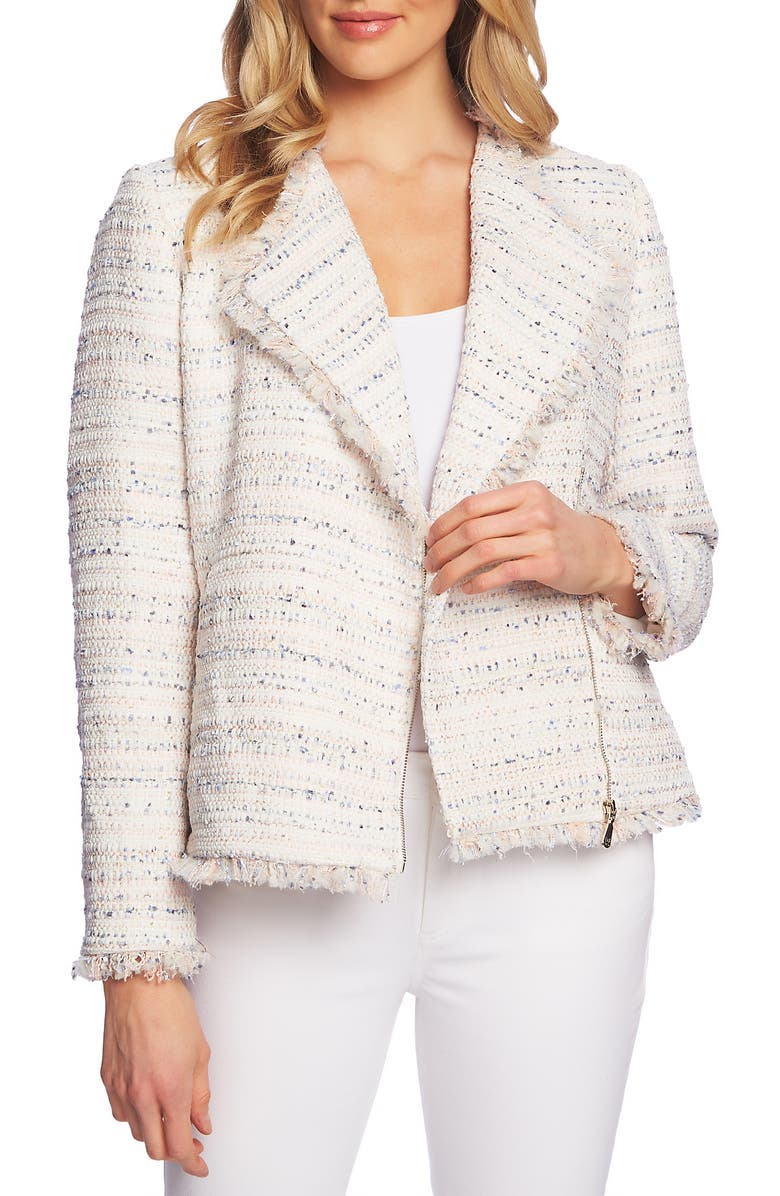 CECE Fringe Detail Tweed Jacket, Main, color, 651