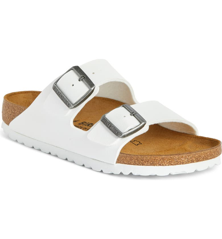 BIRKENSTOCK 'Arizona' White Birko-Flor Sandal, Main, color, 100