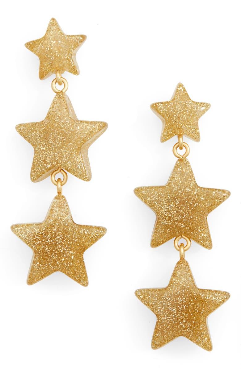MADEWELL Glitter Stars Statement Earrings, Main, color, GOLD GLITTER
