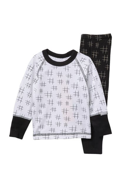 Image of Coccoli Crosshatch Long Sleeve Top & Bottoms Pajama Set