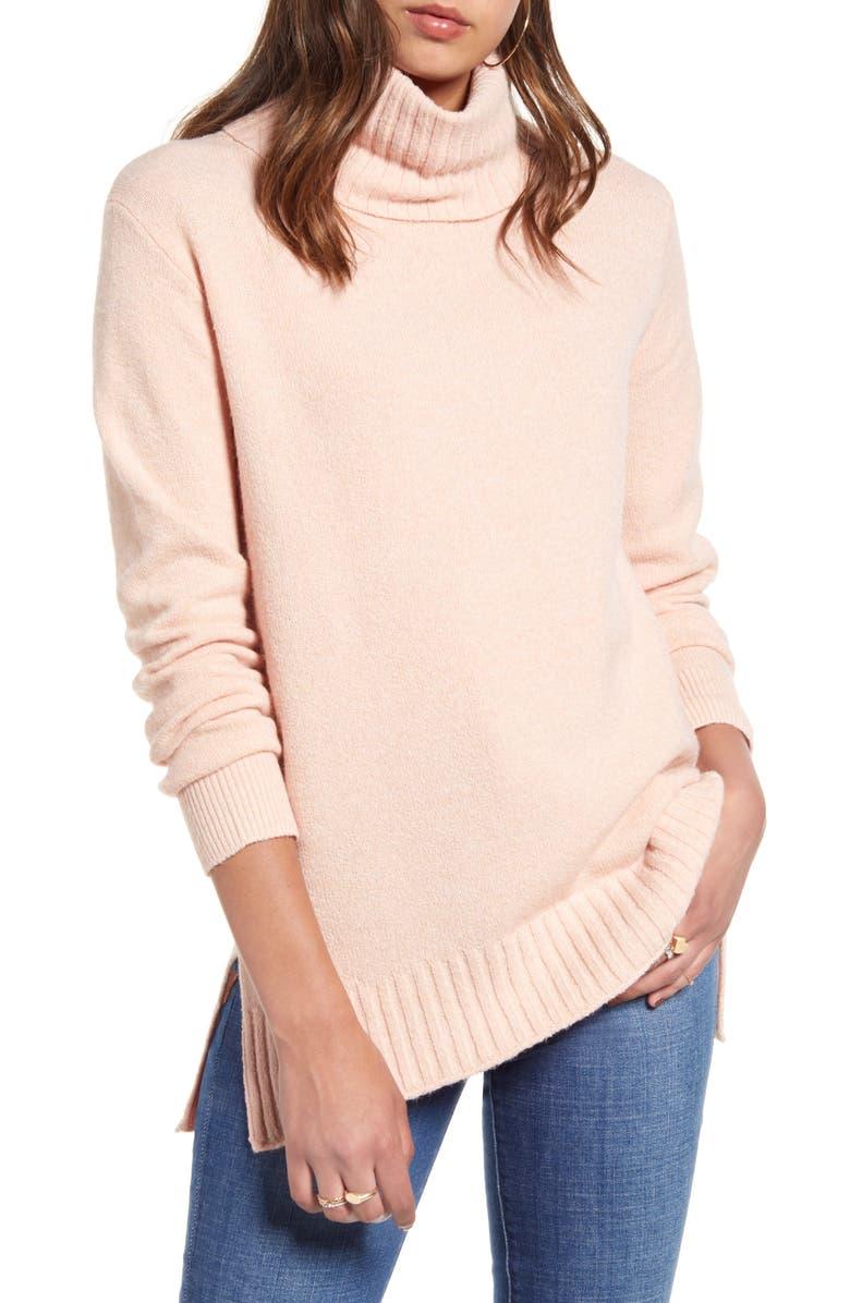 BP. Longline Turtleneck Sweater, Main, color, PINK ROSECLOUD