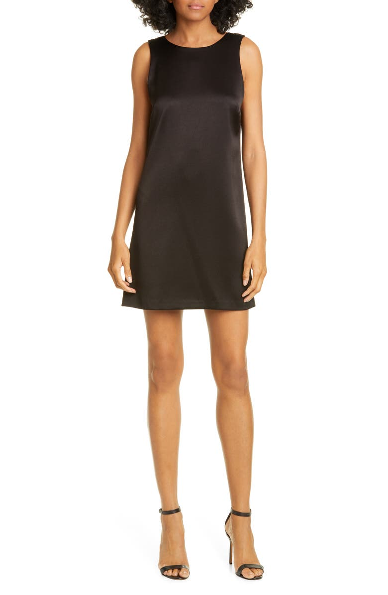 ALICE + OLIVIA Lita Satin Shift Dress, Main, color, BLACK