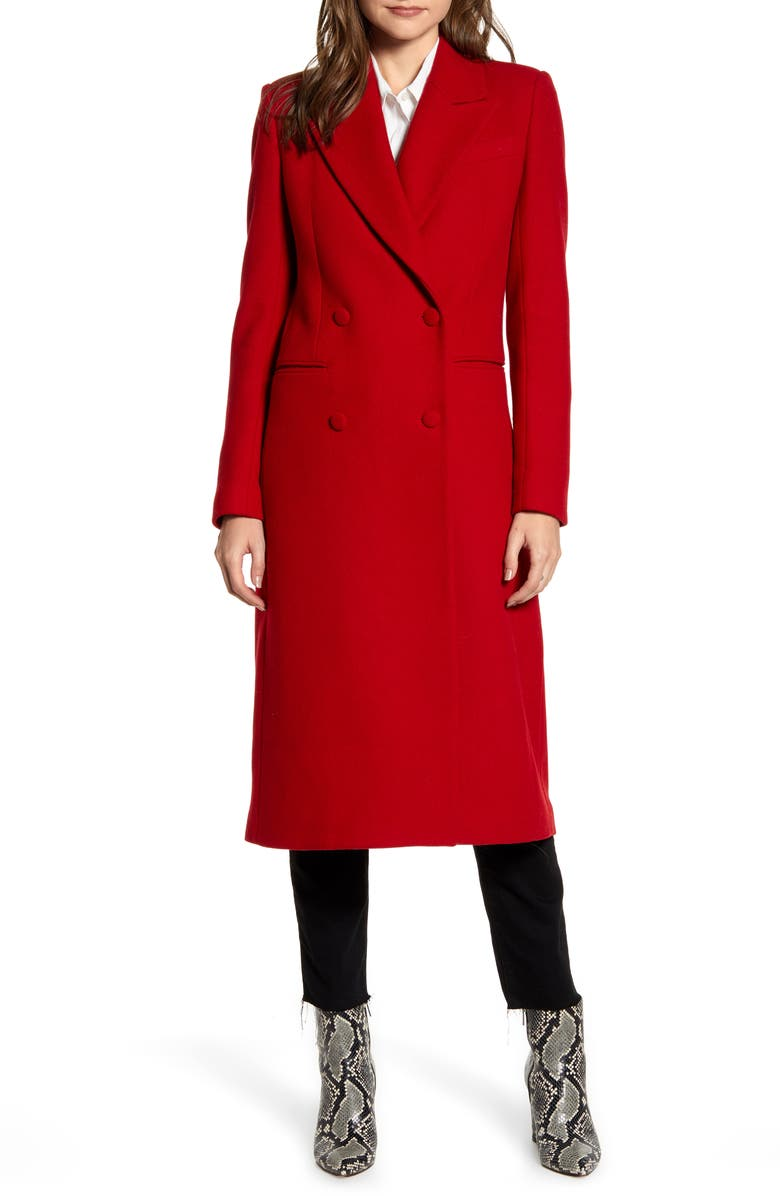 AVEC LES FILLES Double Breasted Wool Blend Coat, Main, color, RED