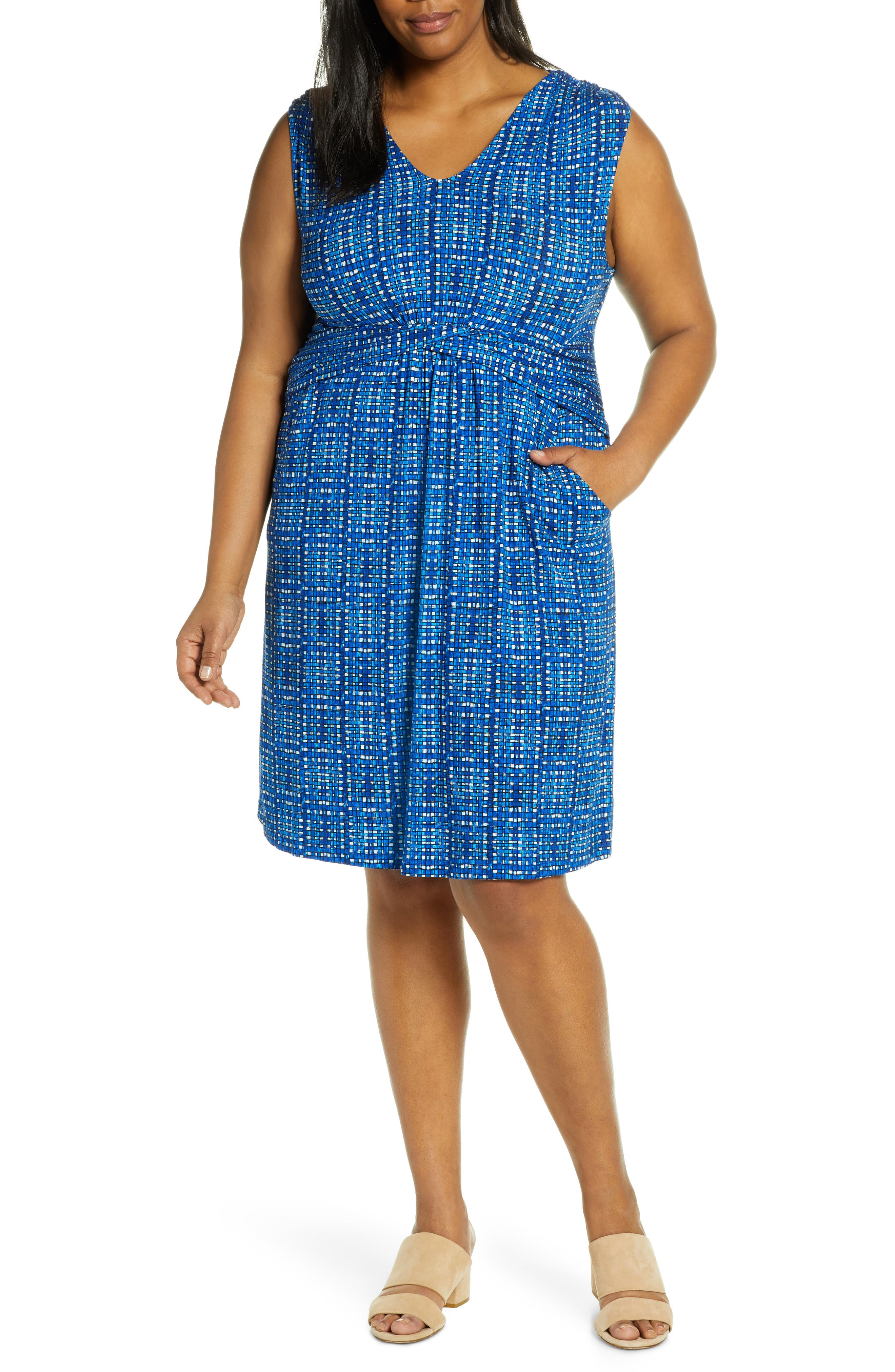 Plus Size Nic+Zoe Check It Out Sleeveless Dress, Blue