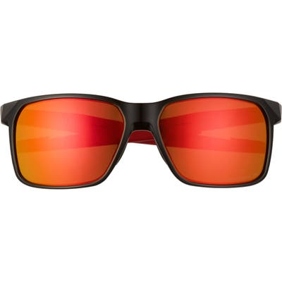 Oakley Portal 5m Polarized Square Sunglasses - Polished Black/ Prizm Ruby