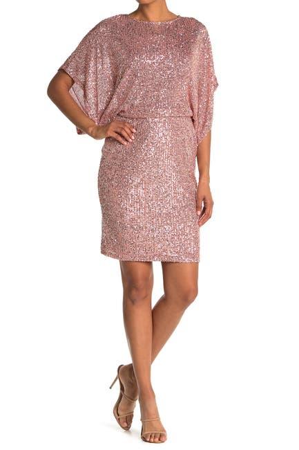 Image of Marina Sequin Blouson Wide Sleeve Sheath Dress