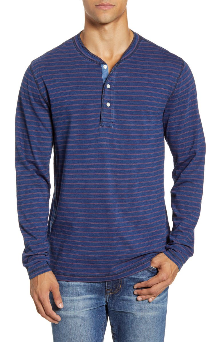 FAHERTY Stripe Long Sleeve Henley, Main, color, DARK WASH RED STRIPE