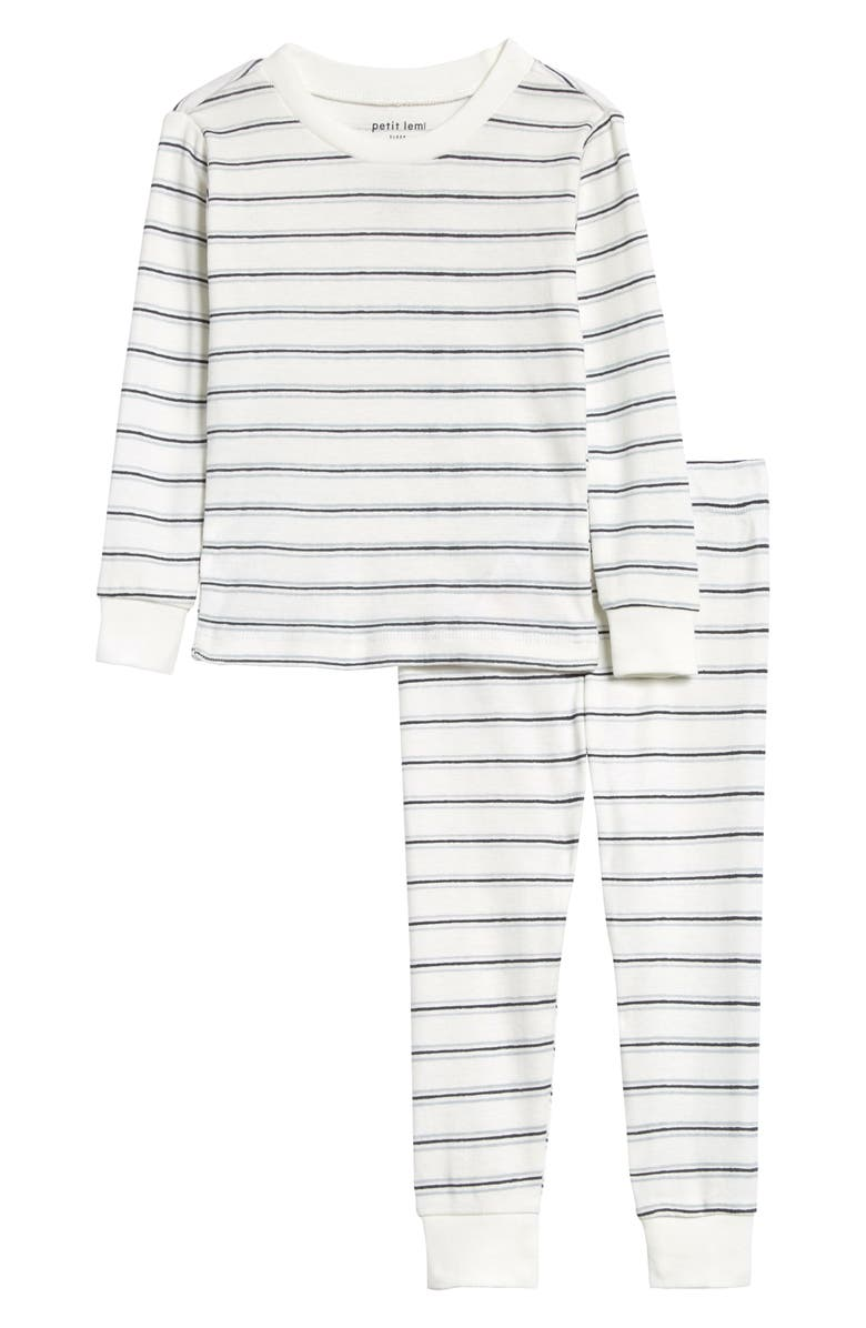 PETIT LEM Print Fitted Two-Piece Pajamas, Main, color, OFF WHITE