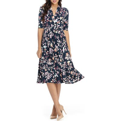 Maggy London Floral Pleated Fit & Flare Midi Dress, Green