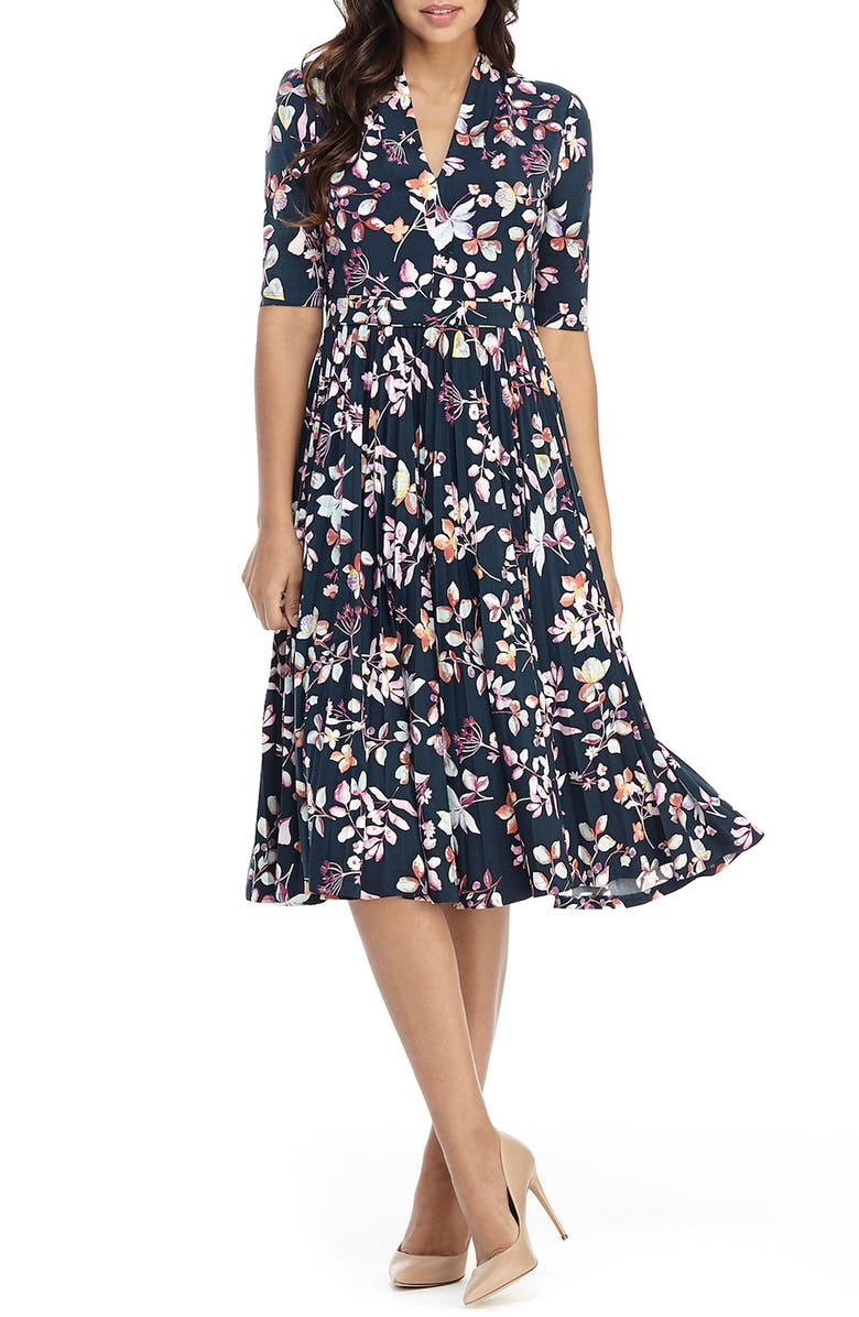 MAGGY LONDON Floral Pleated Fit & Flare Midi Dress, Main, color, MIDNITE TEAL/ FUCHSIA