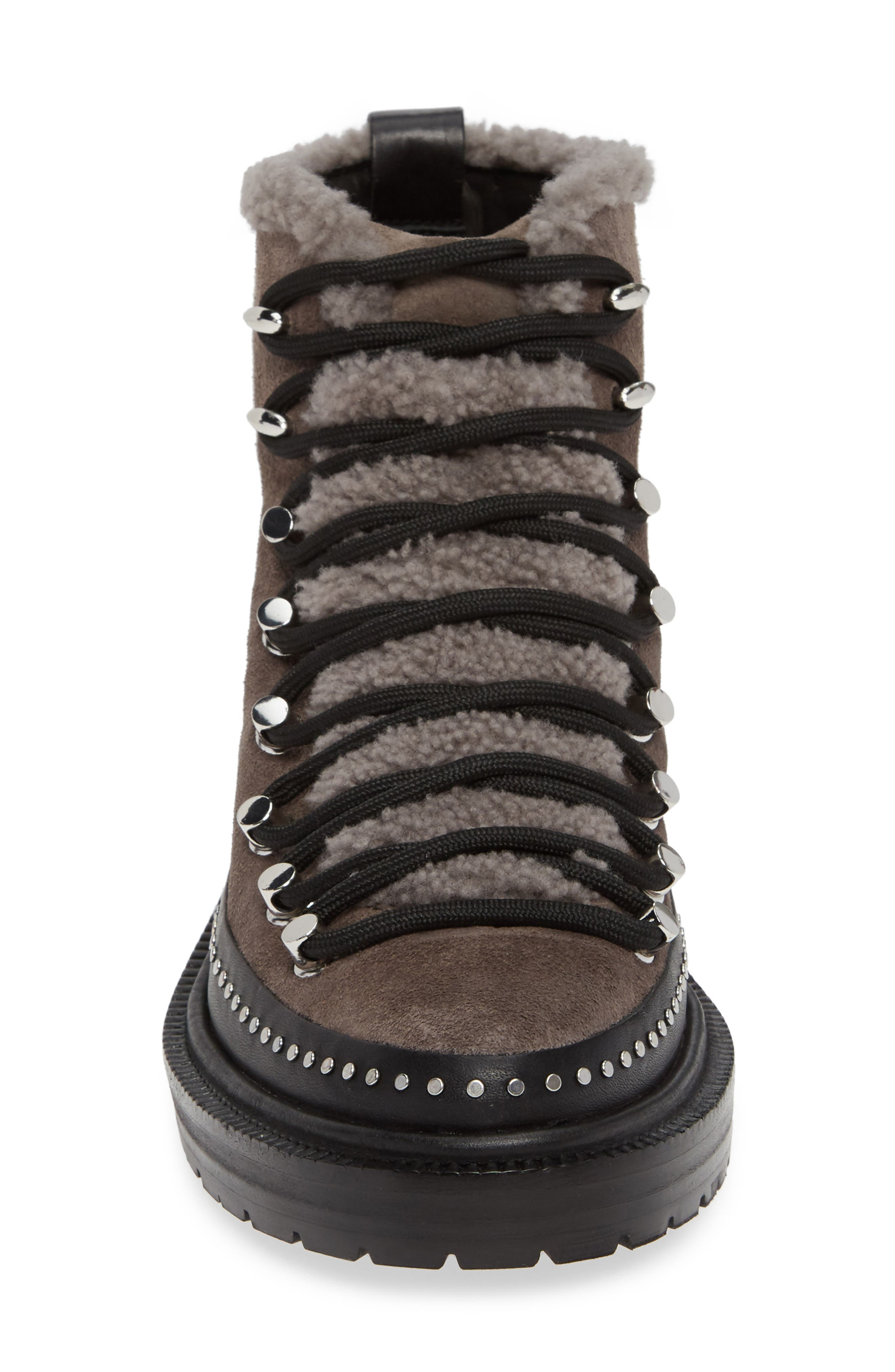 ,                             Compass Genuine Shearling Combat Boot,                             Alternate thumbnail 4, color,                             ELEPHANT SUEDE
