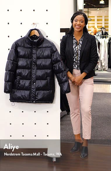 Stand Collar Water Resistant Puffer Coat, sales video thumbnail