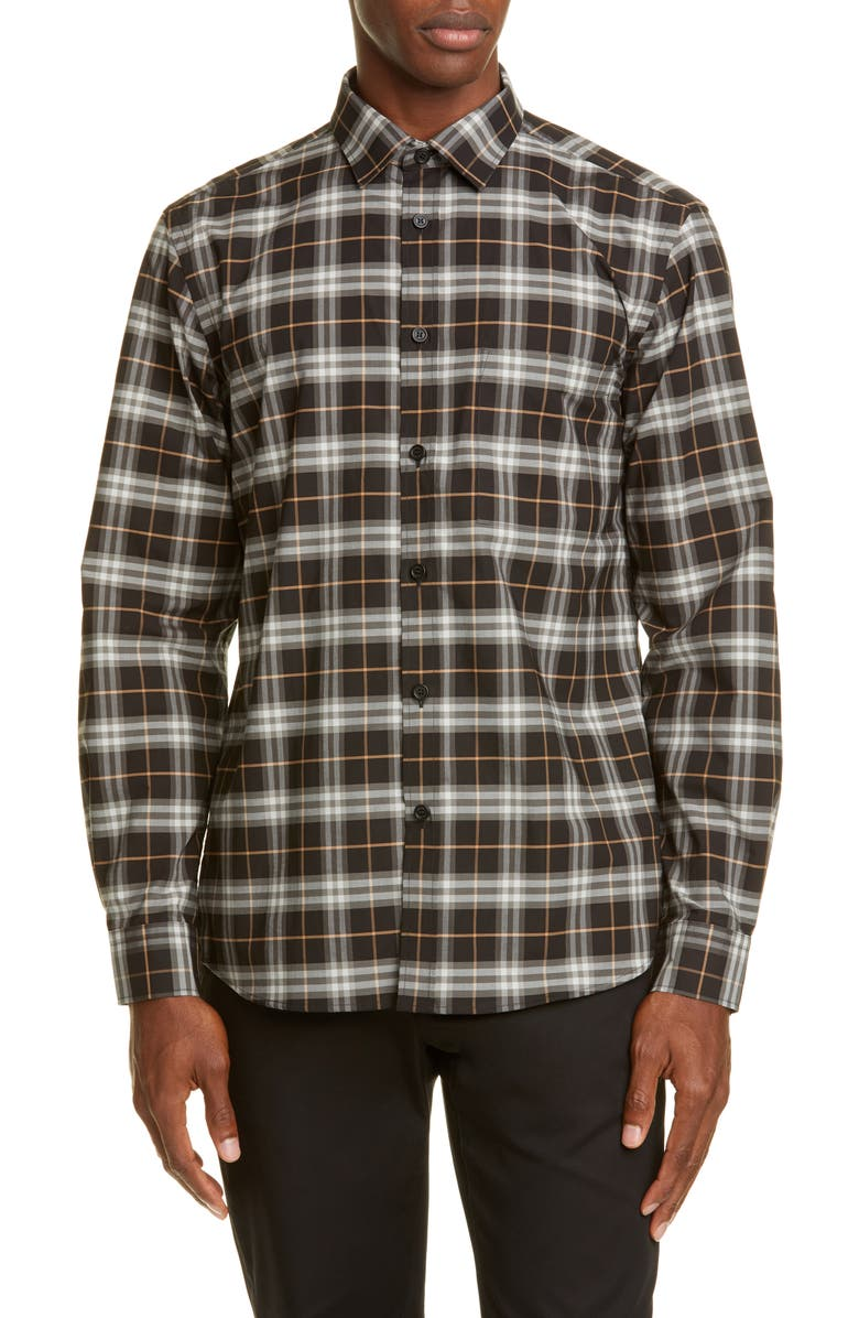 BURBERRY Simpson Plaid Button-Up Shirt, Main, color, BLACK