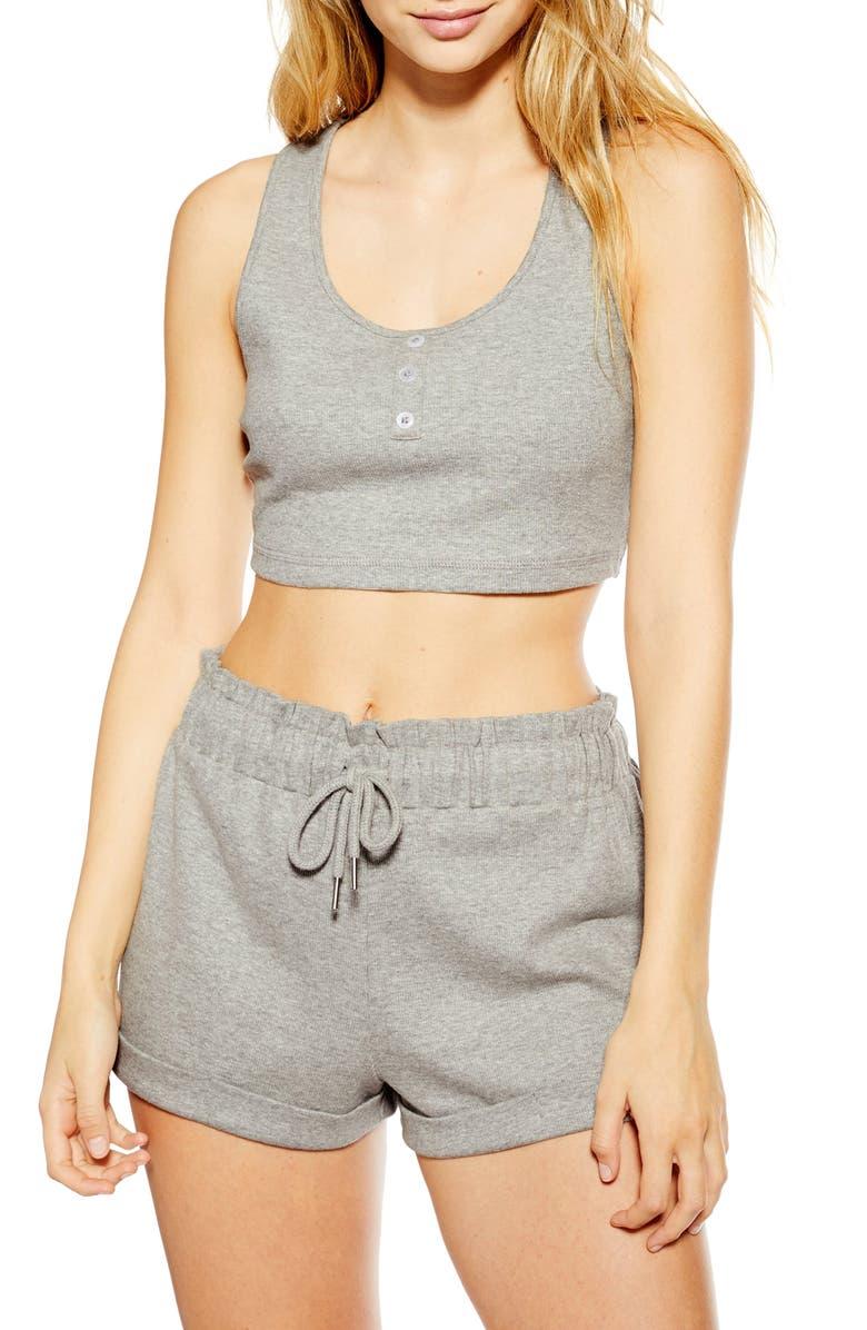 TOPSHOP Ribbed Short Pajamas, Main, color, 020