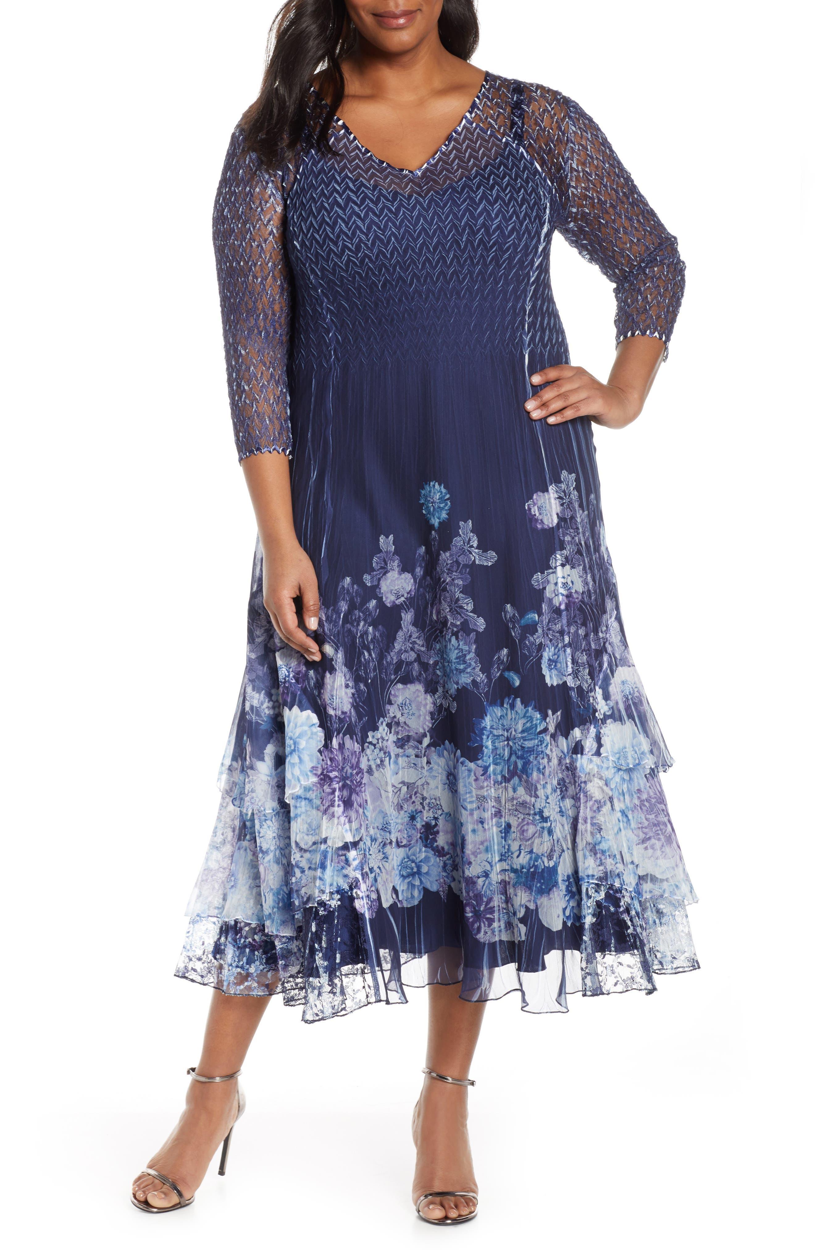 Plus Size Komarov Print Chiffon A-Line Midi Dress, Blue