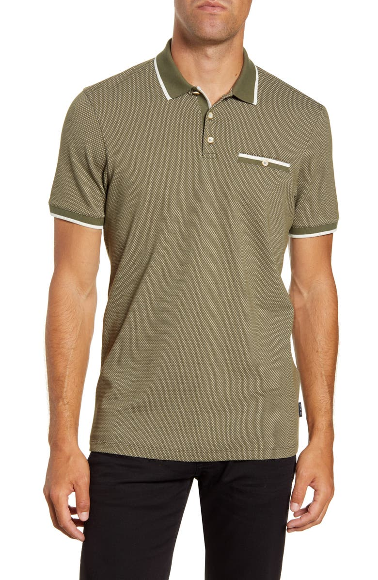TED BAKER LONDON Slim Fit Textured Polo, Main, color, KHAKI