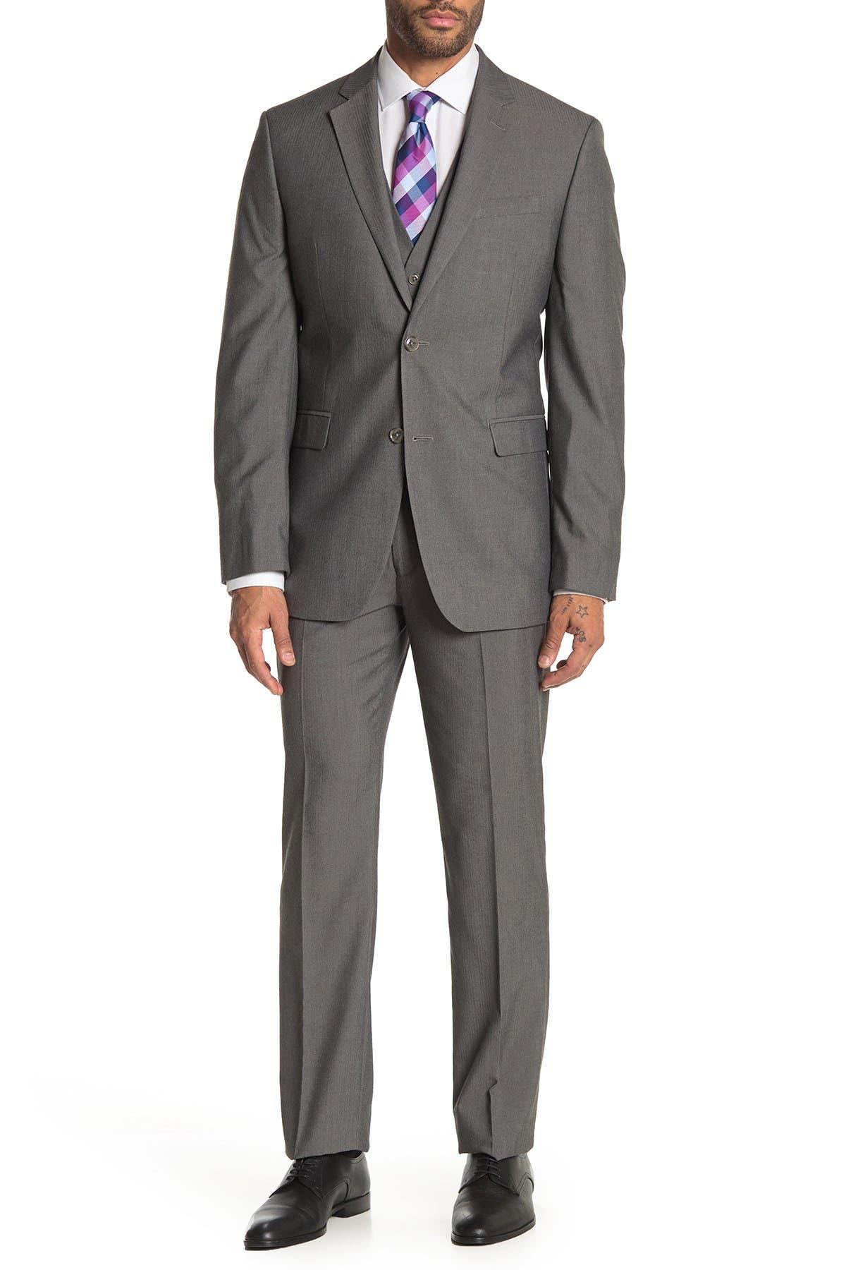 Image of Perry Ellis Grey Herringbone Two-Button Notch Lapel Slim Fit 3-Piece Suit