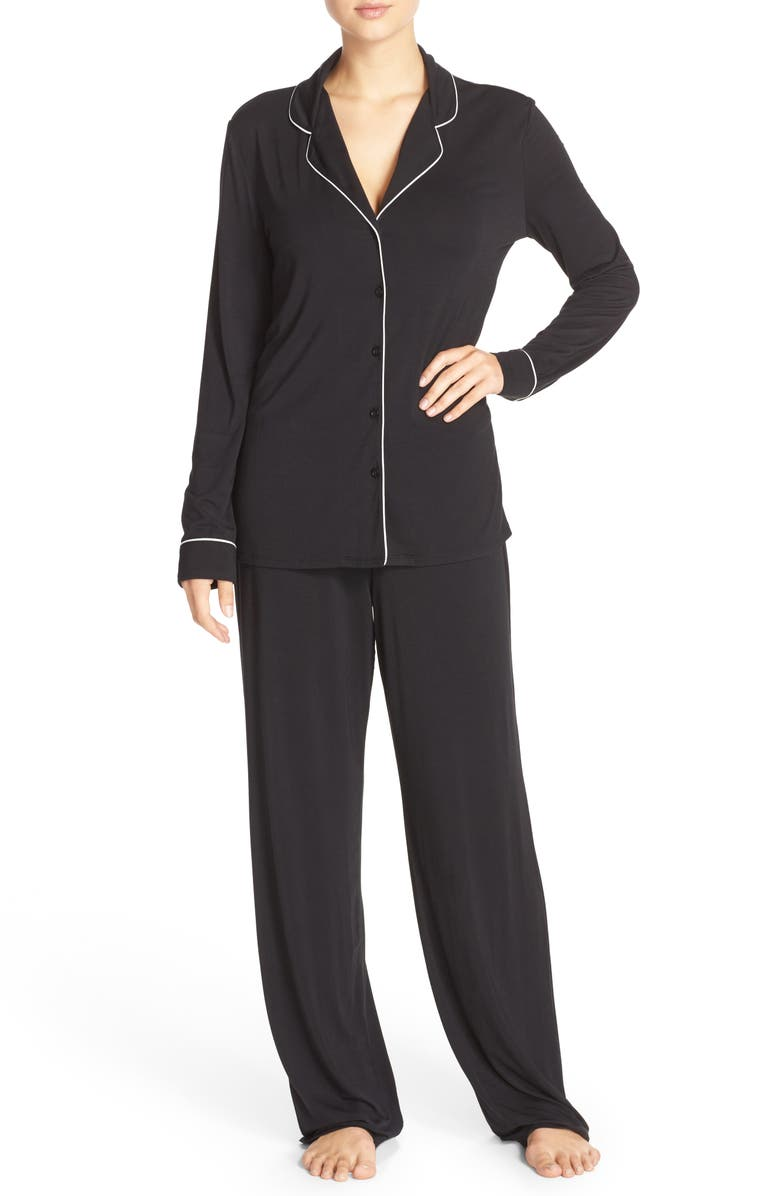 NORDSTROM LINGERIE Moonlight Pajamas, Main, color, BLACK