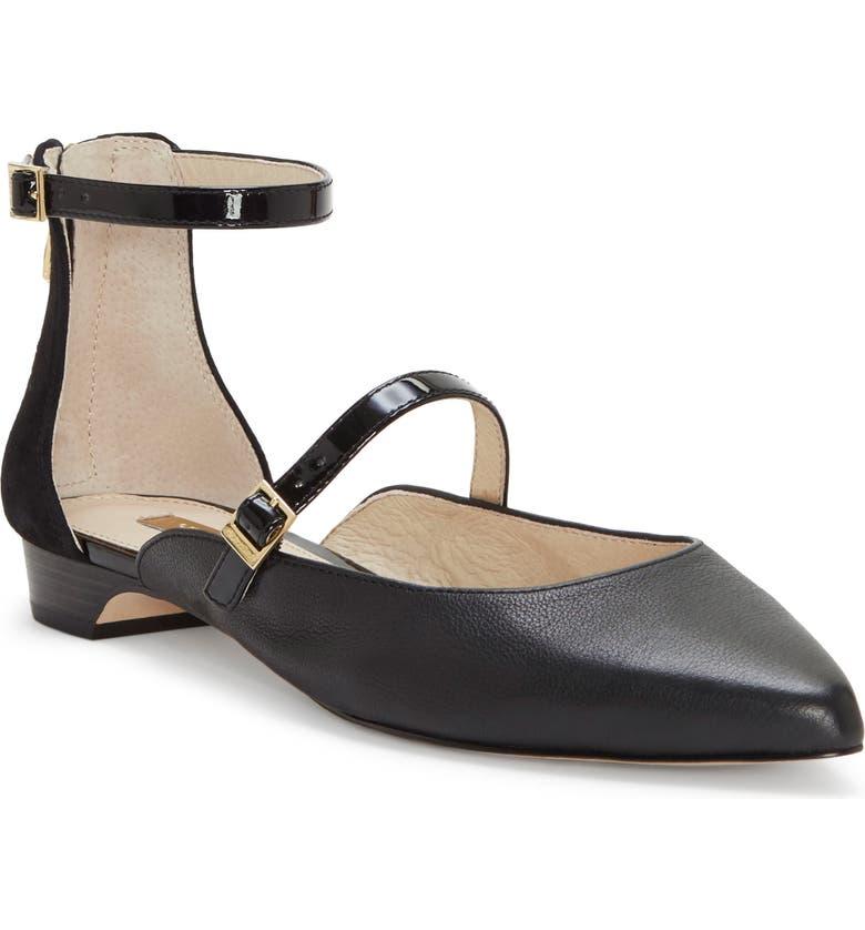 LOUISE ET CIE Claire Ankle Strap Flat, Main, color, BLACK