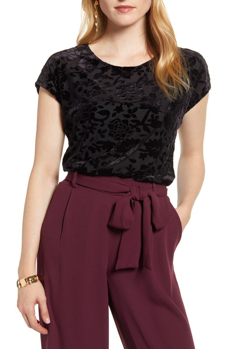 HALOGEN<SUP>®</SUP> Flocked Cap Sleeve Top, Main, color, BLACK FLOCKED FLORAL