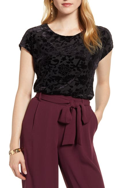 Image of Halogen Flocked Cap Sleeve Top