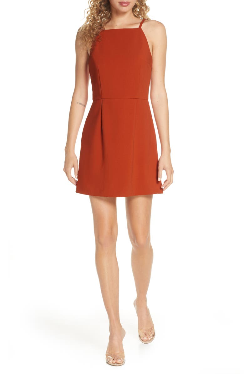 FRENCH CONNECTION Whisper Light Sheath Minidress, Main, color, CINNAMON STICK