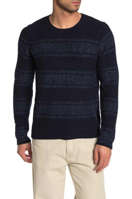 Image of Vince Textured Knit Stripe Print Crew Neck Sweater