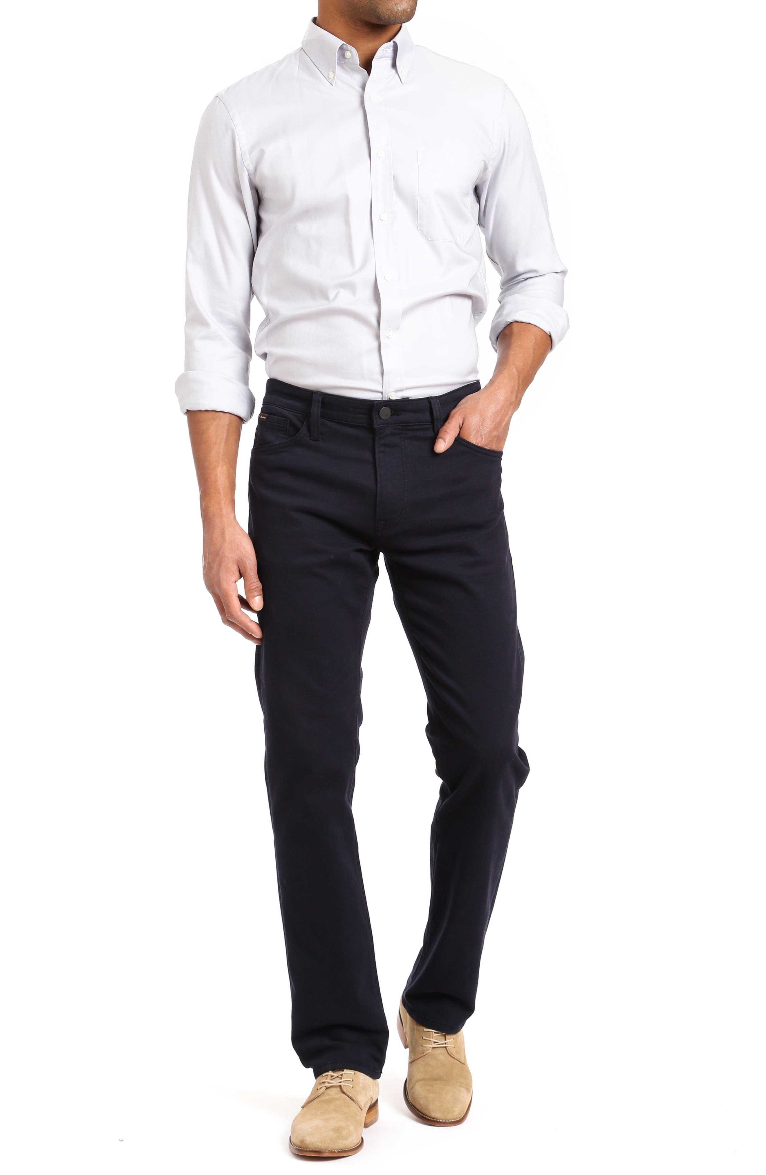 ,                             Courage Straight Leg Jeans,                             Alternate thumbnail 4, color,                             NAVY WASHED LUXE
