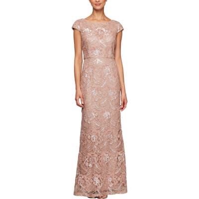 Alex Evenings Beaded & Embroidered Evening Gown, Pink