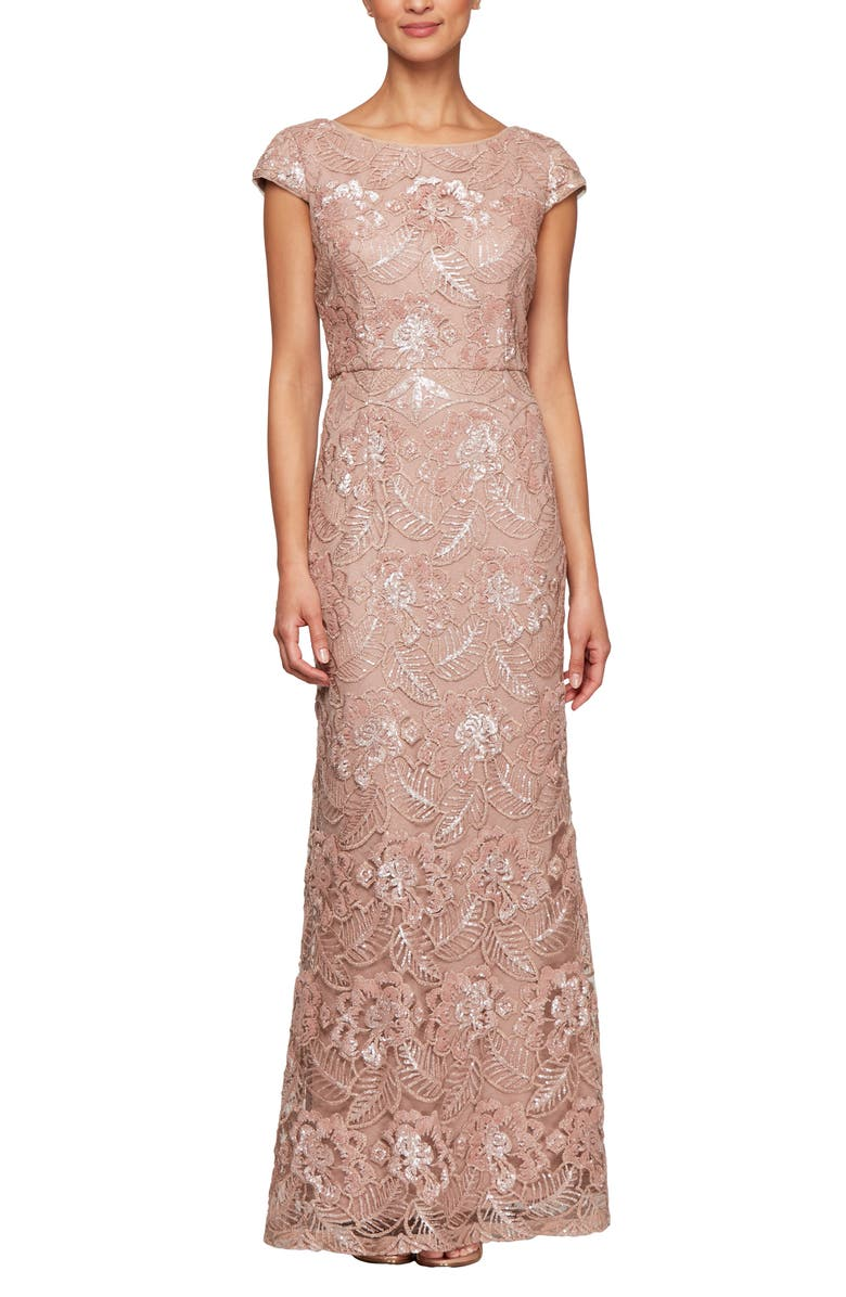 ALEX EVENINGS Beaded & Embroidered Evening Gown, Main, color, ROSE GOLD