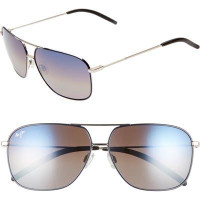 Maui Jim Kami 62Mm Polarizedplus2 Aviator Sunglasses - Silver Navy Blue/dual Mirr