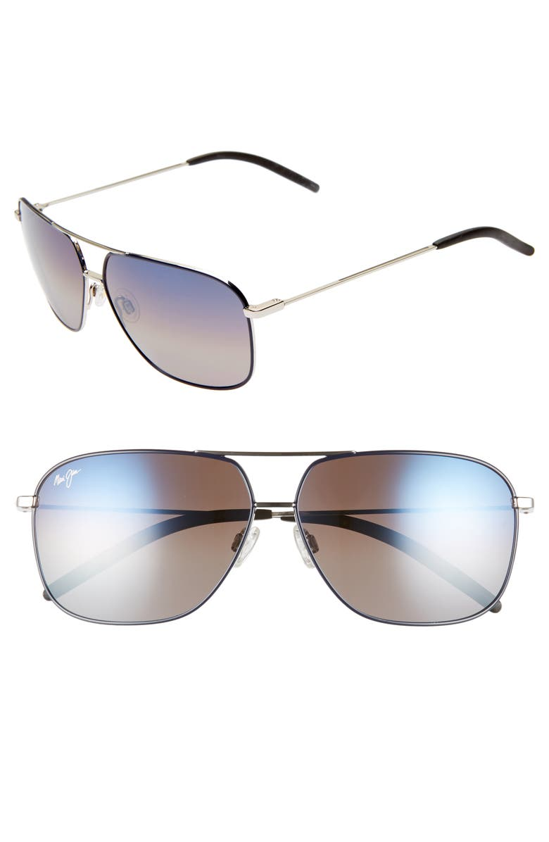 MAUI JIM Kami 62mm PolarizedPlus2<sup>®</sup> Aviator Sunglasses, Main, color, SILVER NAVY BLUE/DUAL MIRR