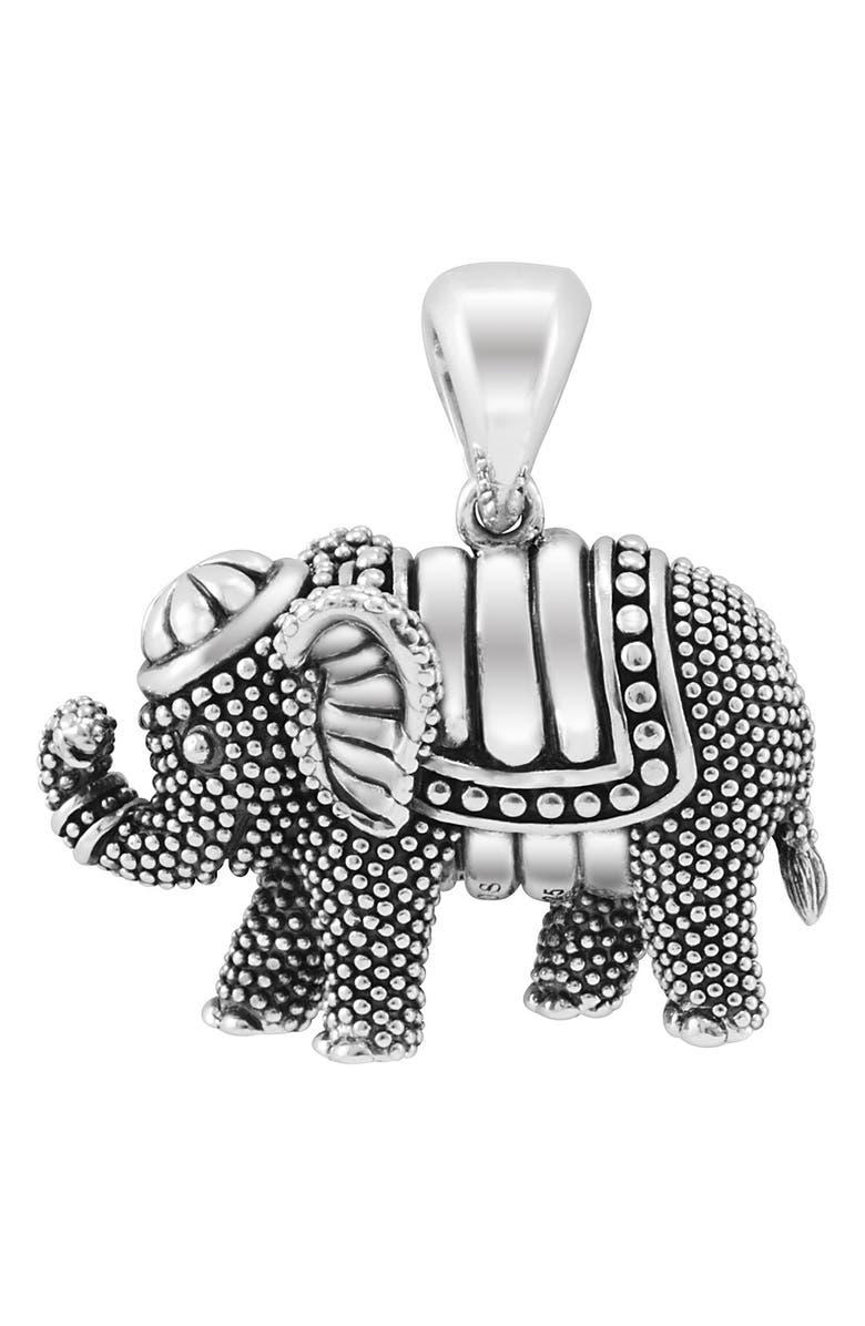 LAGOS Rare Wonders Long Talisman Necklace, Main, color, SILVER/ ELEPHANT
