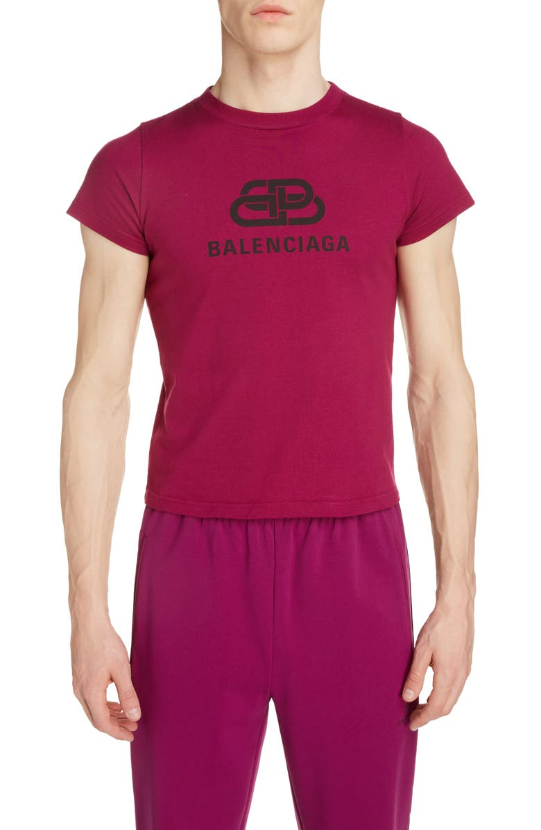 BALENCIAGA BB Bal Logo T-Shirt, Main, color, PLUM