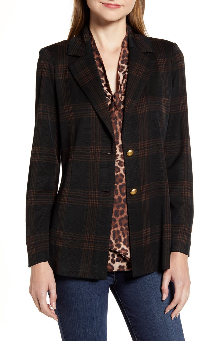 MING WANG Check Knit Jacket, Main, color, BLACK/ COFFEE/ COGNAC