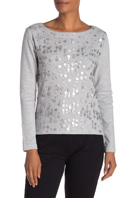 Image of Joan Vass Sequined Boatneck Top