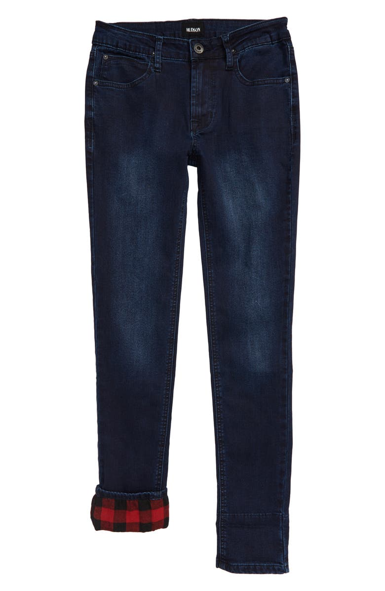HUDSON JEANS Flannel Skinny Jeans, Main, color, BLUE MOON