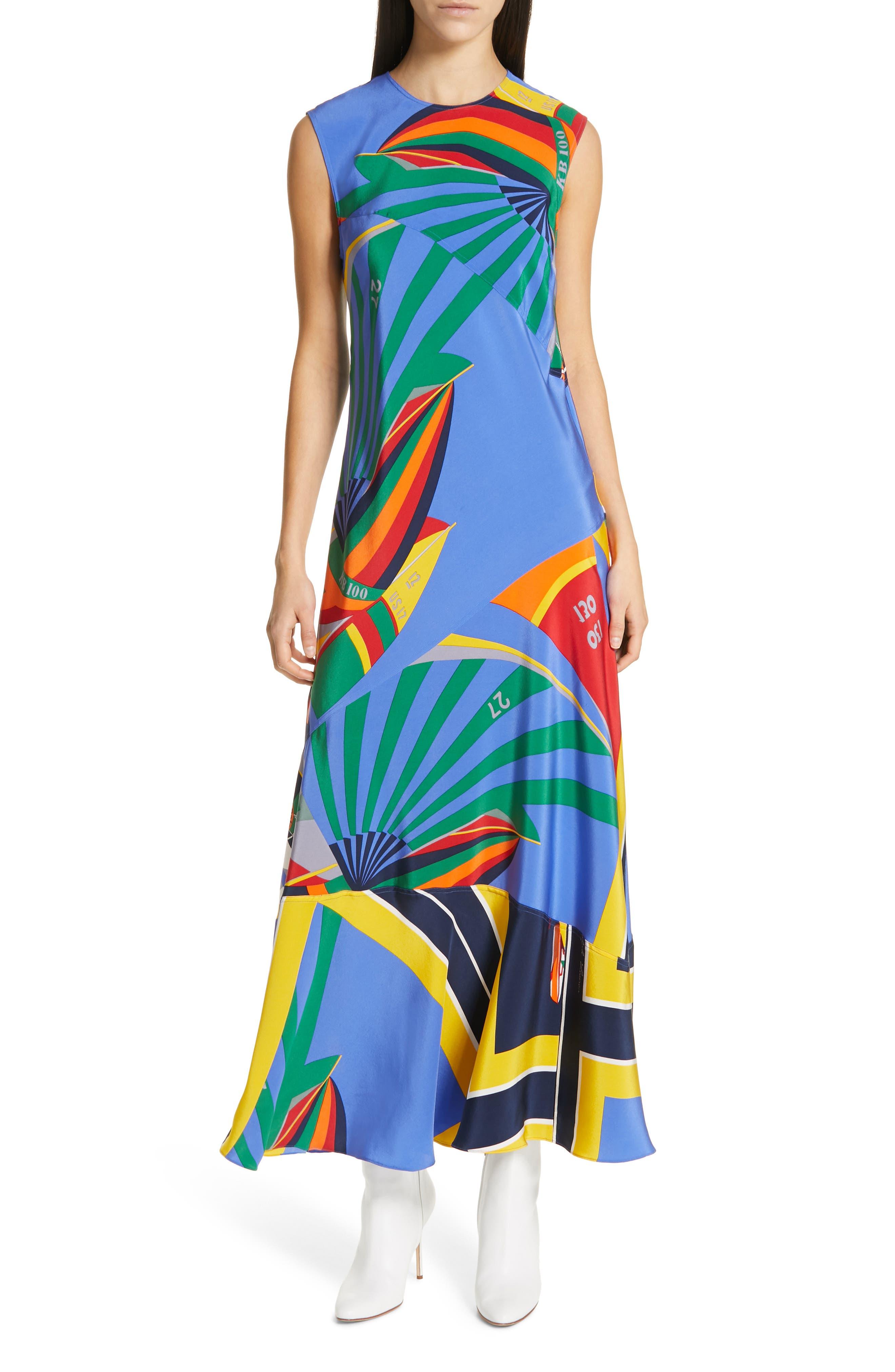 Sleeveless Silk Maxi Dress, Main, color, WINDY SAILBOAT PRINT