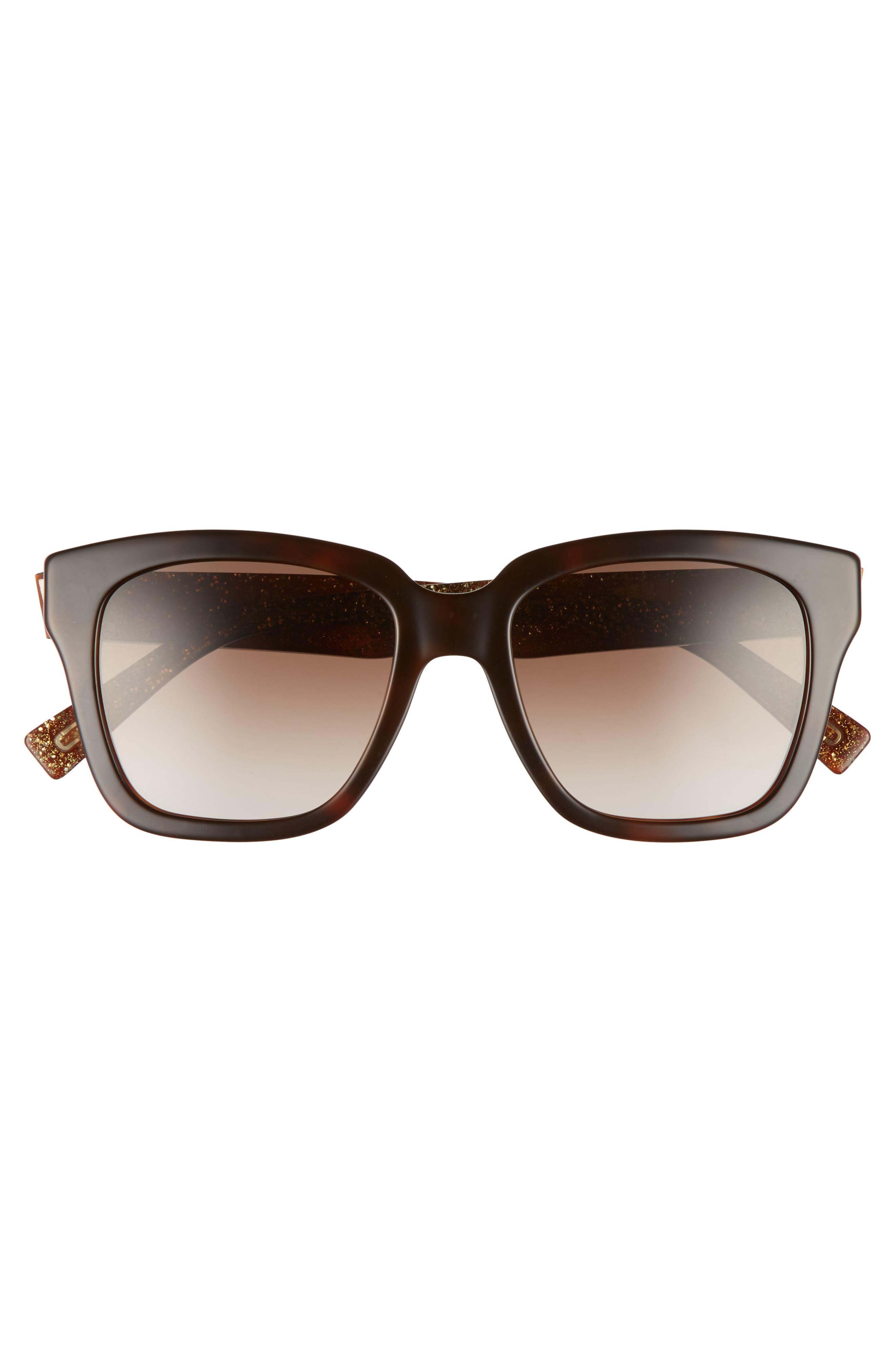 ,                             52mm Square Sunglasses,                             Alternate thumbnail 3, color,                             HAVANNA BROWN/ GOLD