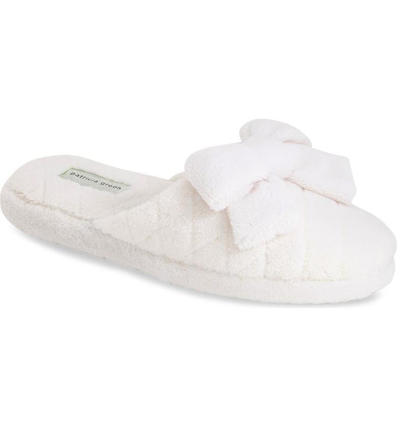 PATRICIA GREEN 'Bonnie' Bow Slipper, Main, color, WHITE
