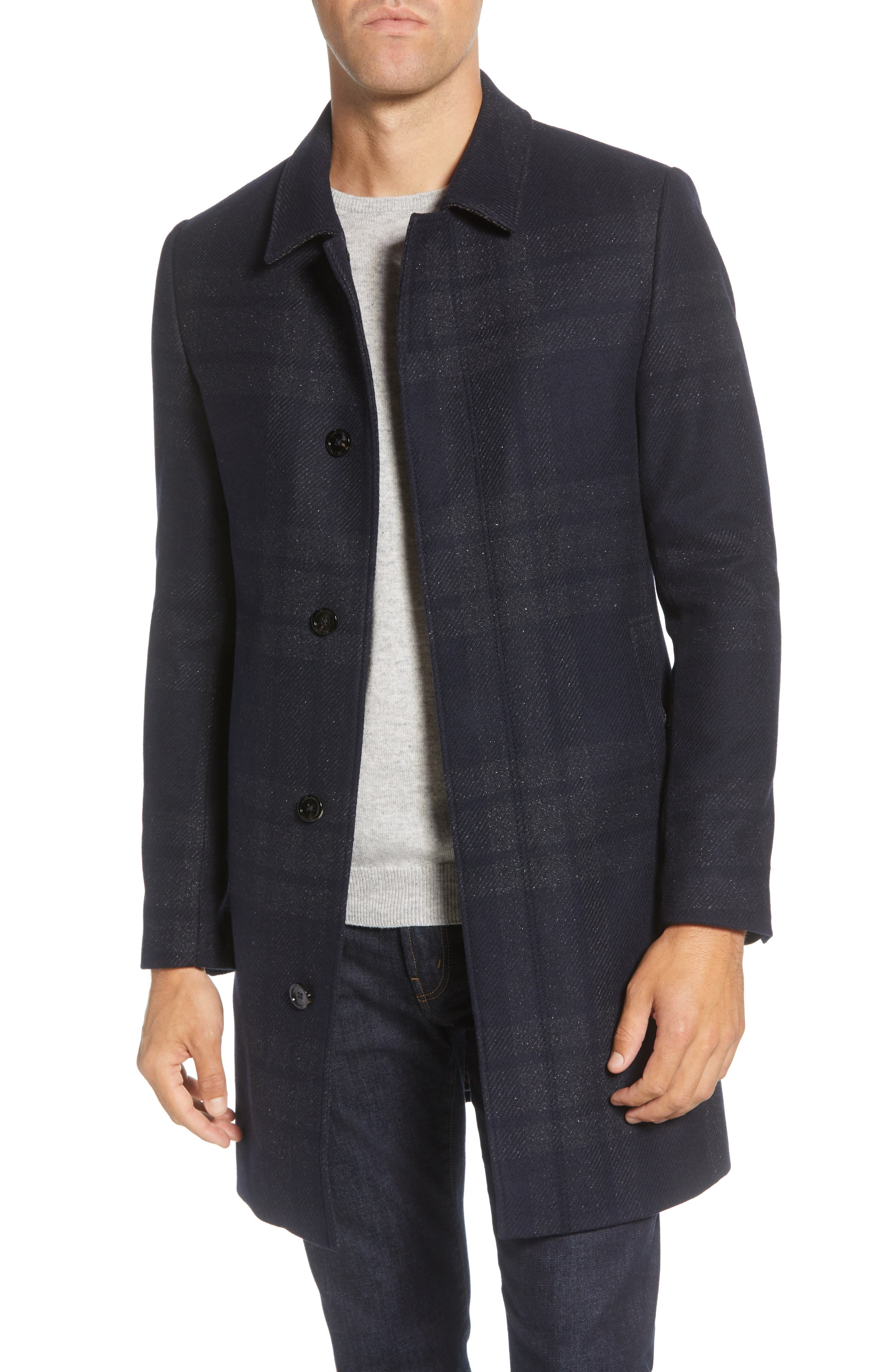 Image of Ted Baker London Dudno Oversize Check Wool & Cotton Blend Coat