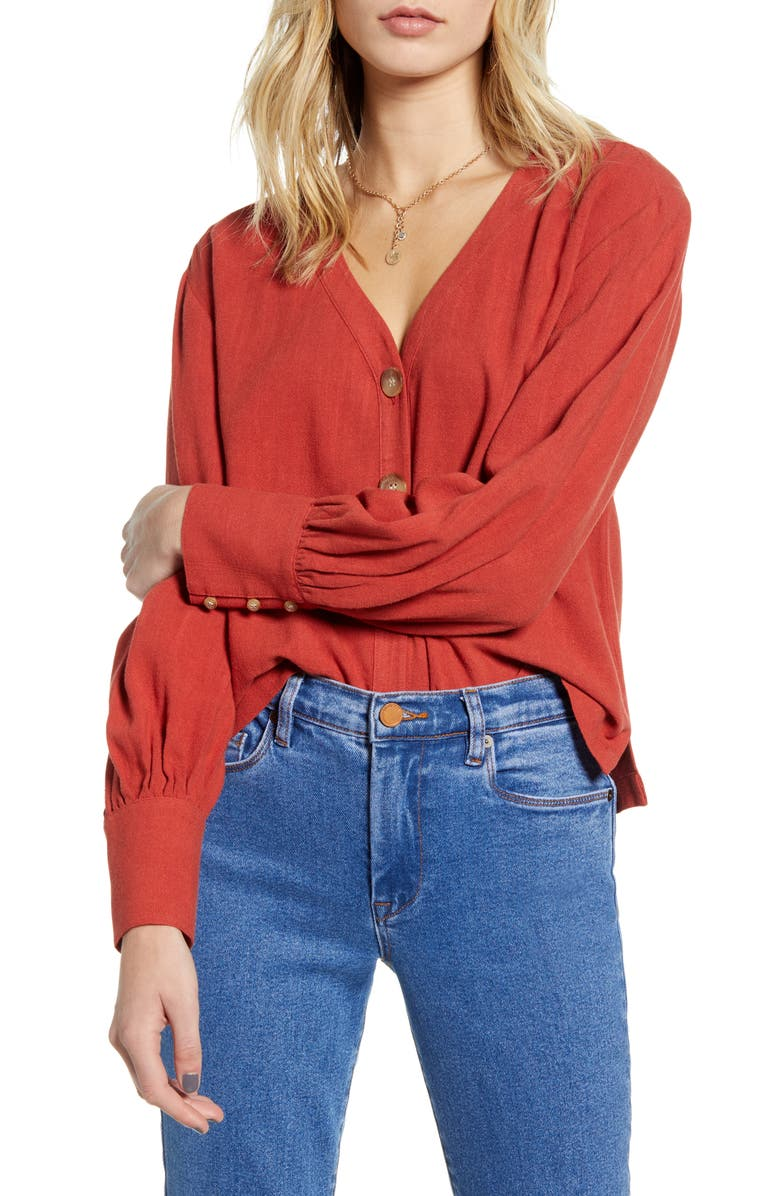 BP. Bishop Long Sleeve Blouse, Main, color, RUST CINNABAR
