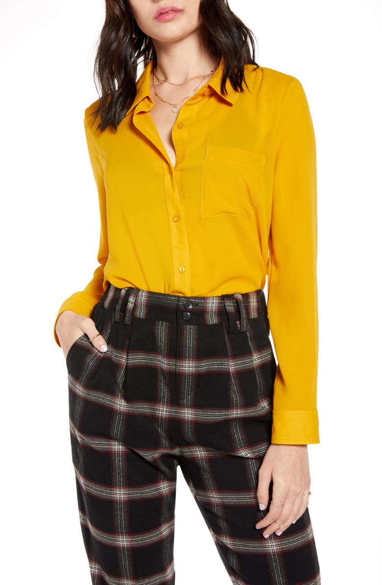 BP. x Claudia Sulewski Gathered Back Shirt, Main, color, YELLOW TREASURE