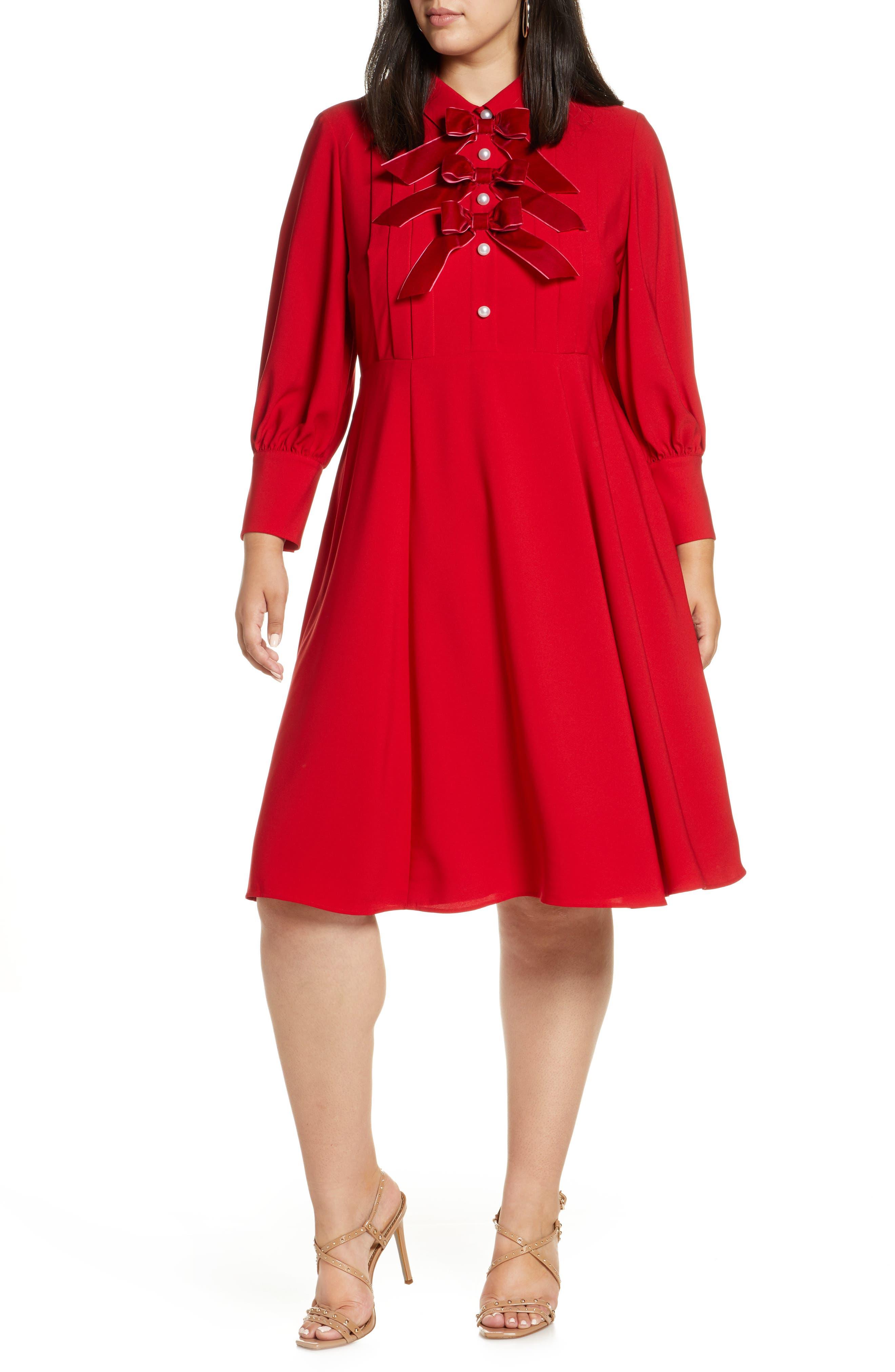 Plus Size Vintage Dresses, Plus Size Retro Dresses Plus Size Womens Halogen X Atlantic-Pacific Bow Detail Fit  Flare Dress Size 20 similar to 18W - Red Plus Size Nordstrom Exclusive $139.00 AT vintagedancer.com