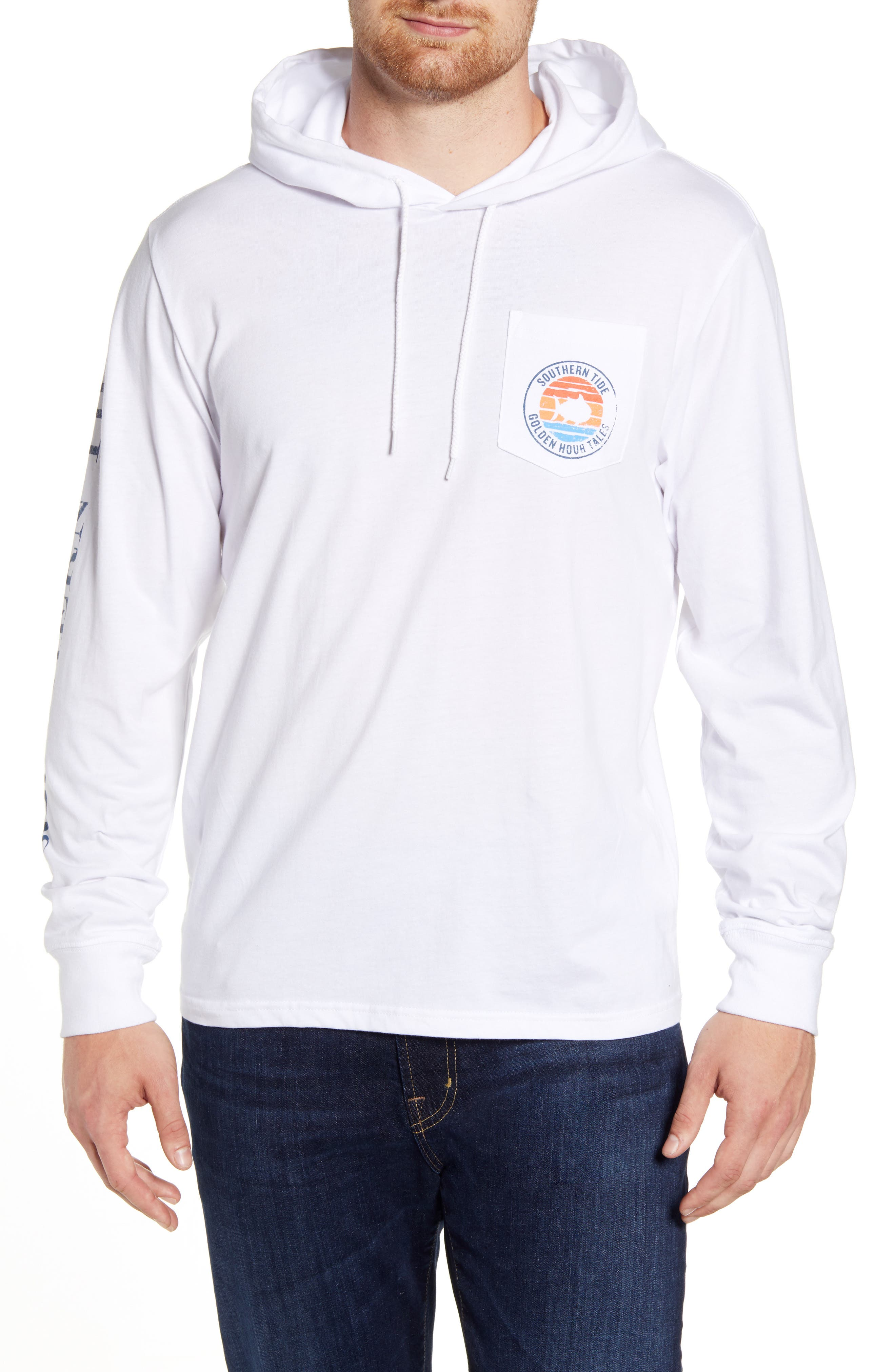Southern Tide Golden Hour Tales Pocket Hoodie, White