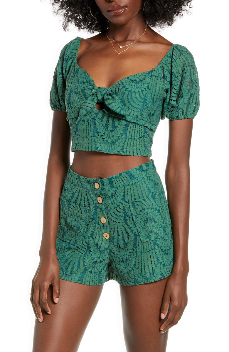 4SI3NNA Mabel Tie Front Embroidered Lace Crop Top, Main, color, GREEN