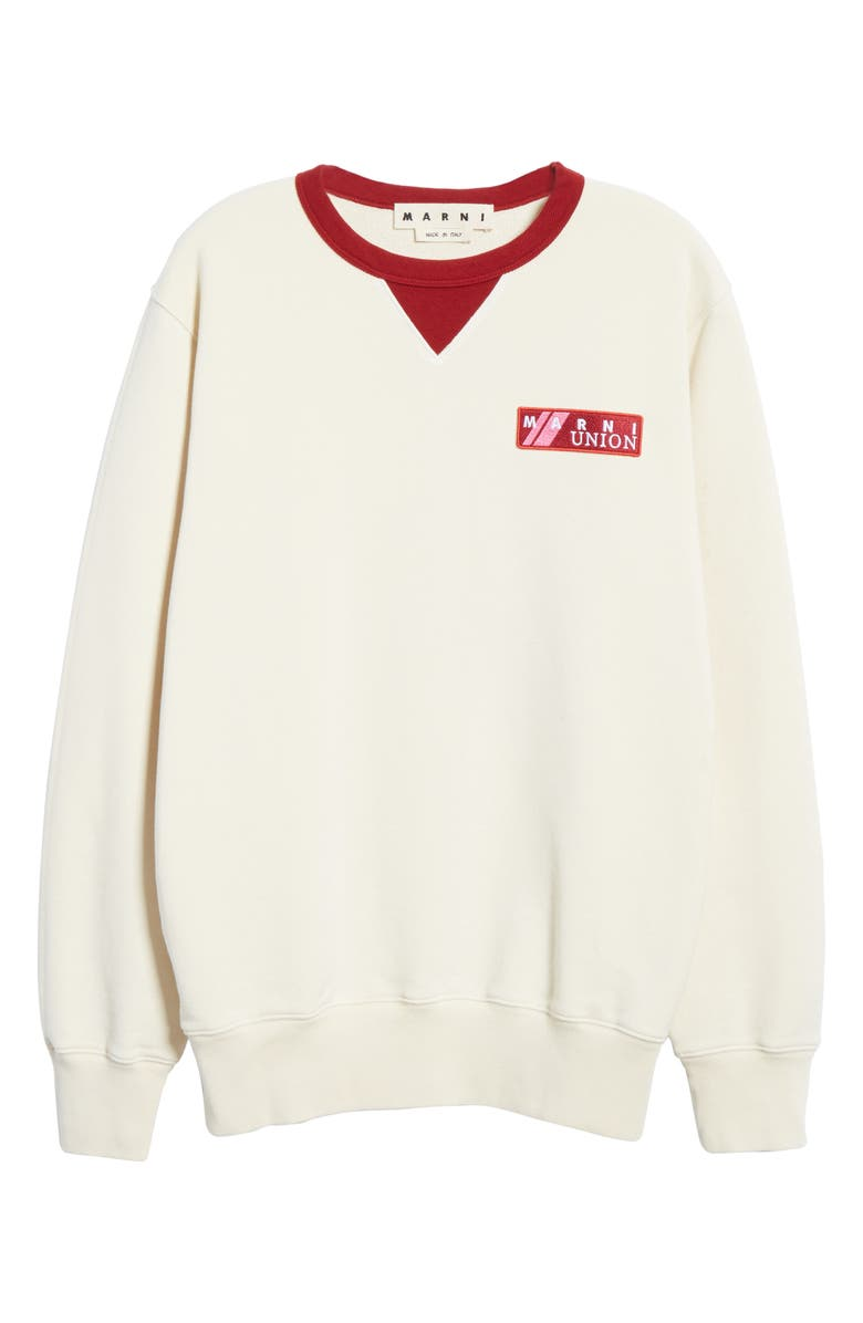 MARNI Logo Sweatshirt, Main, color, OFF WHITE / BURGUNDY